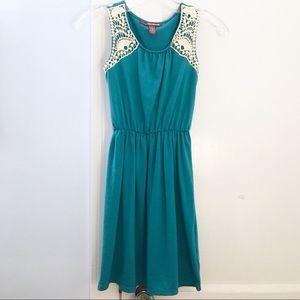 NWOT Teal Crochet Inset Dress